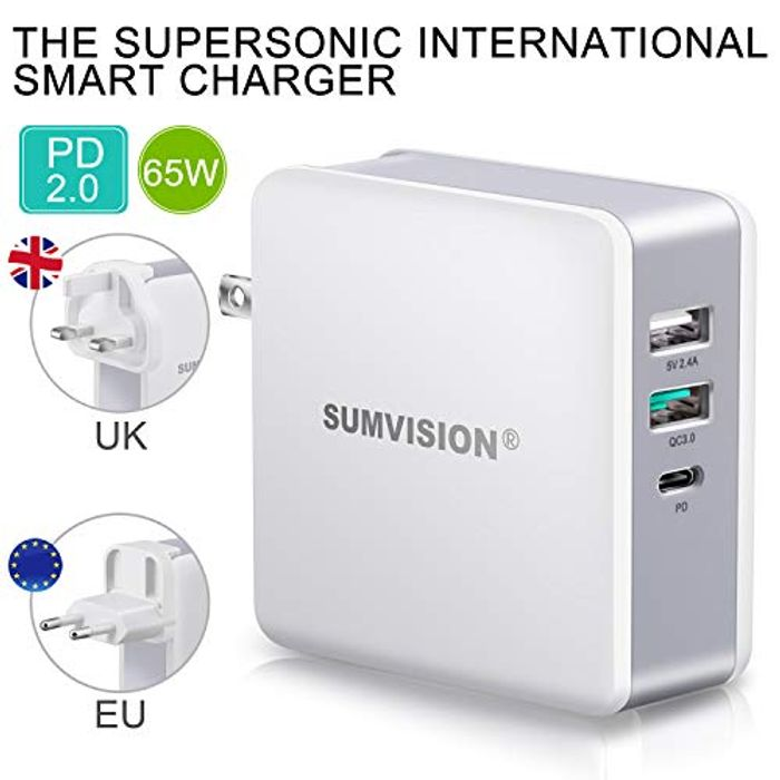 Sumvision 65W PD USB C Fast Charger for Apple Macbook Pro 13, Laptops, Nintendo