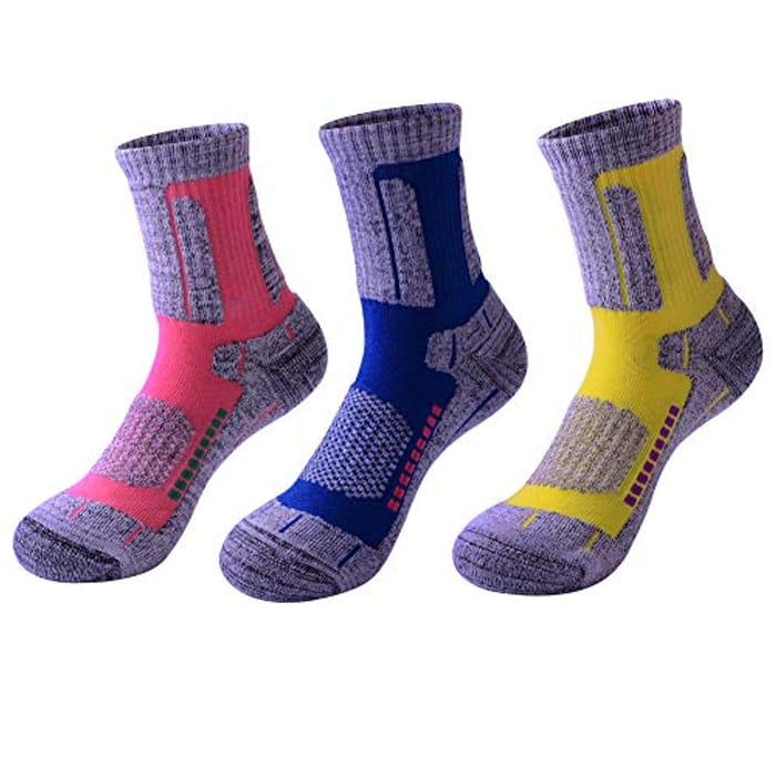3 Pairs Men Women Hiking Walking Socks 2-6.5