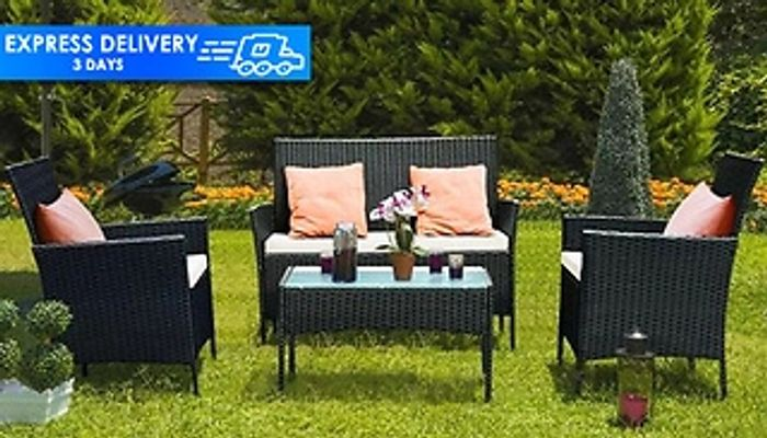 Cheap 4-Piece Rattan Garden Set With Cushions at Discount Experts