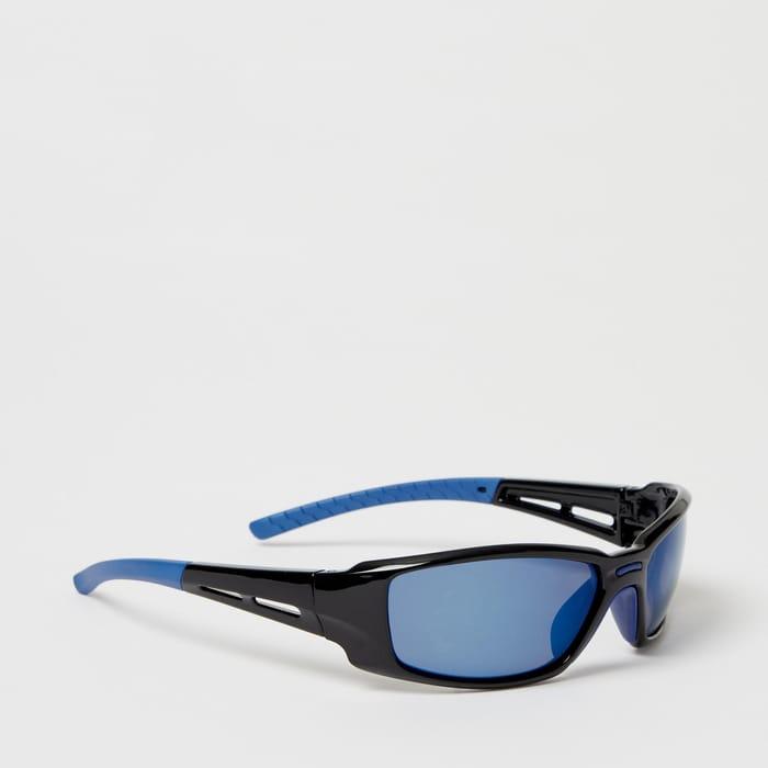 Mantaray - Blue Plastic Wrap around Sunglasses