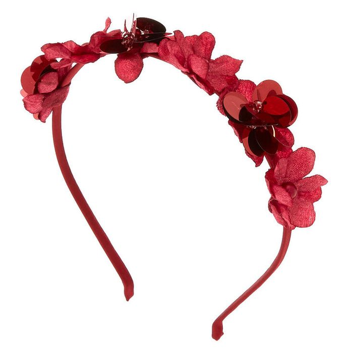Sequin Flower Headband - Burgundy