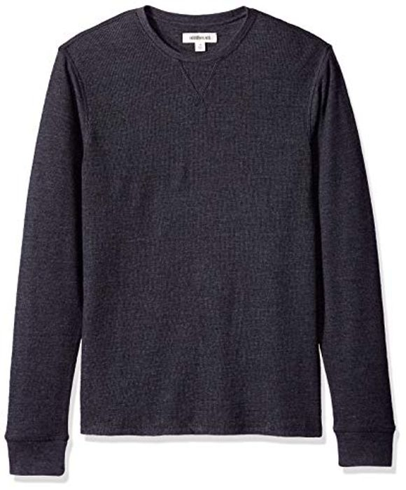 Goodthreads Men's Long-Sleeve Slub Thermal Crewneck T-Shirt, XS Heather Charcoal