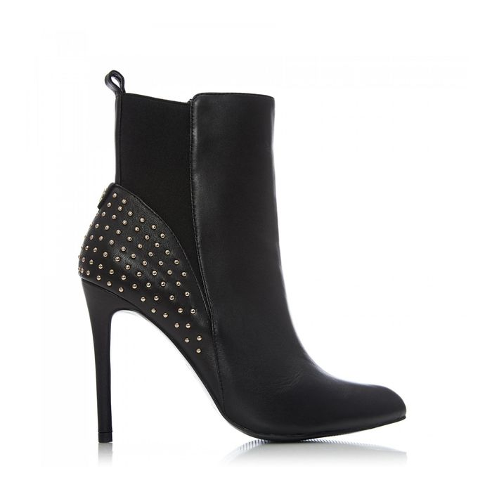 Moda in Pelle-Black Leather 'Martine' High Stiletto Heel Ankle Boots (Size 5 )