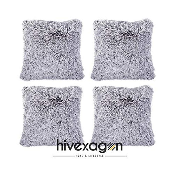 Faux Fur GREY Pillow Cover Set of 4 (17 X 17)