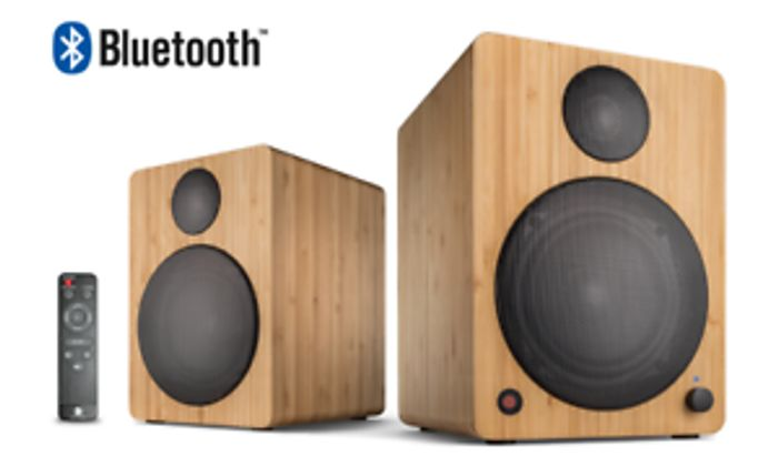 Wavemaster CUBE Neo Active Bluetooth Bookshelf Speakers Bamboo Wooden
