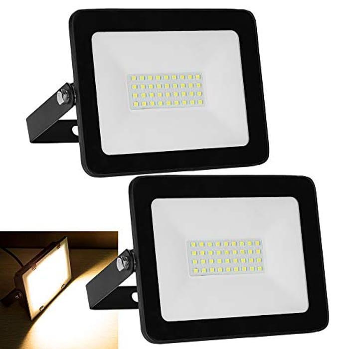 Hengda 2 Pack 30W LED Flood Lights, 2400LM Super Bright LED Security Lights