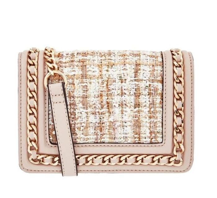 Tweed and Chain Shoulder Bag with Built-in Mirror