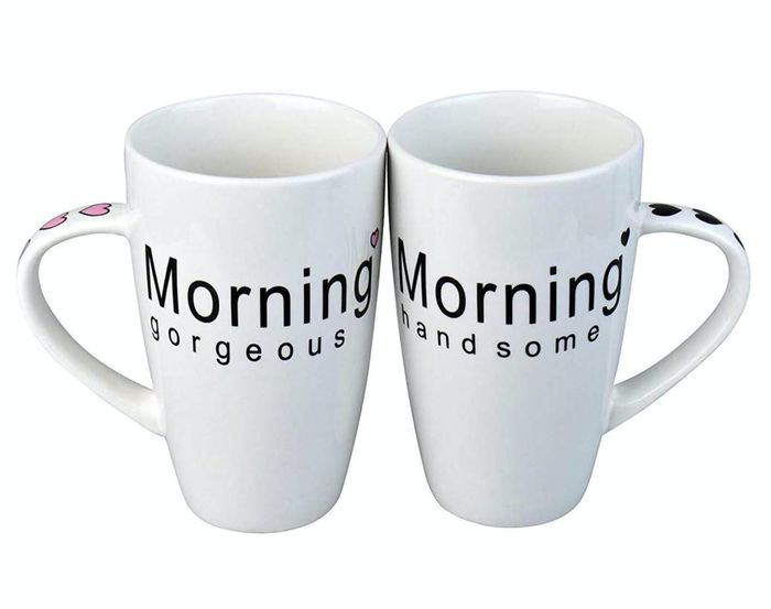 Rink Drink Morning Gorgeous / Handsome China Coffee Mug Set