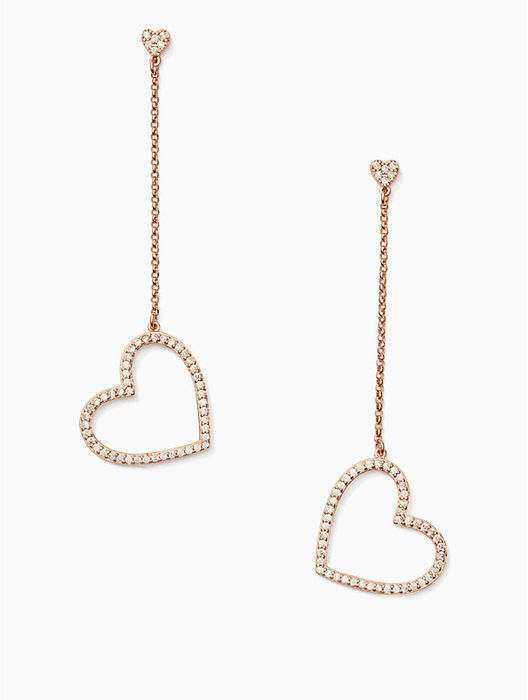 Kate Spade Yours Truly Pave Heart Line Earrings