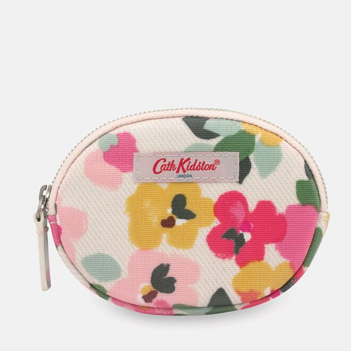 Cath Kidston Cream 'Painted Pansies' Oval Coin Purse