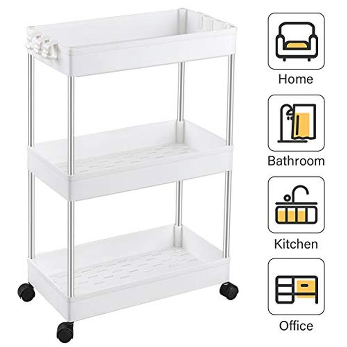 3-Tier Slide out Storage Cart Rolling