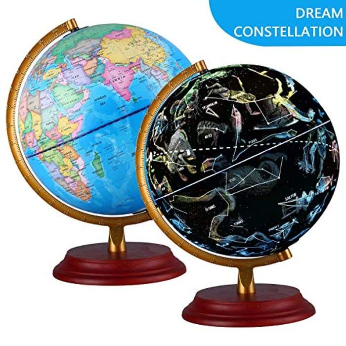World Globe with Wooden Base Night View Stars Constellation Pattern Globe Lamp