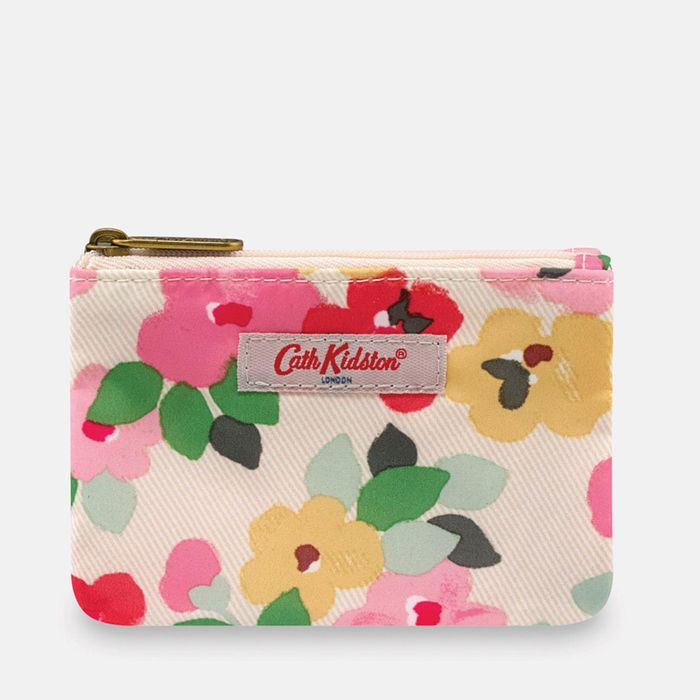 Cath Kidston - Cream 'Painted Pansies' Double Pocket Purse