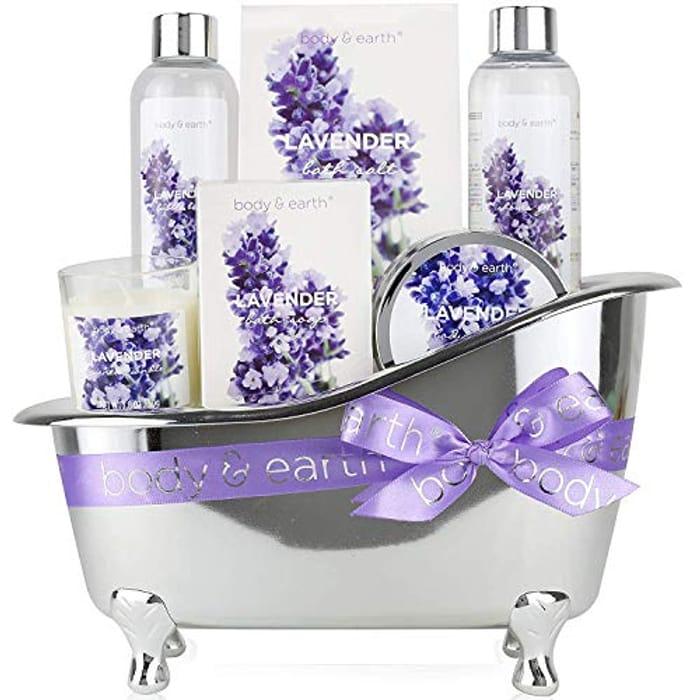 Bath Spa Gift Basket, Body & Earth Lavender Scented Spa Gift Set - 6 Pcs