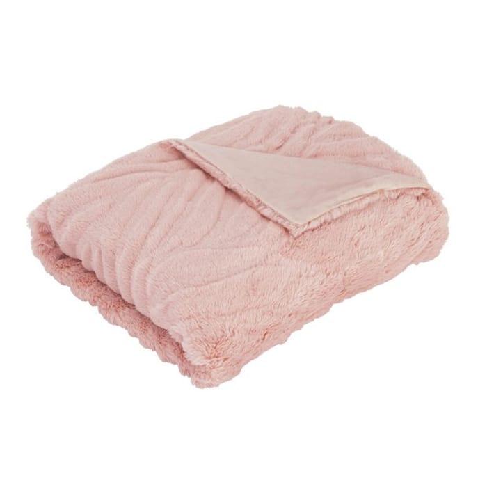 Argos Home Carved Faux Fur Throw - Blush Pink