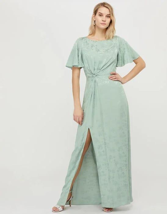Ellinor Satin Jacquard Maxi Dress Green