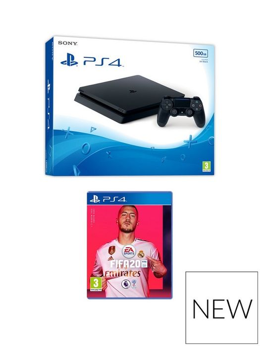 PS4 Black 500GB Console with FIFA 20 and Optional Extras Only £265.99