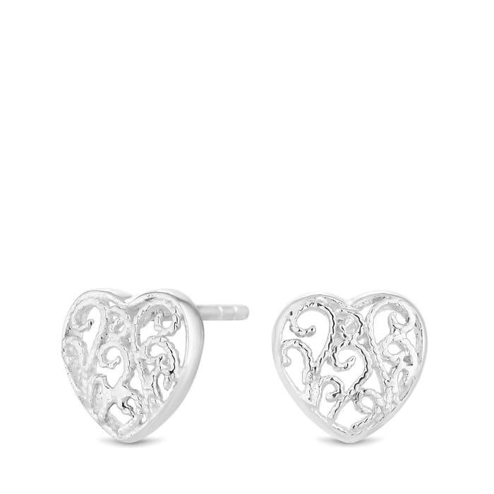 Sterling Silver 925 Mini Filigree Heart Stud Earrings