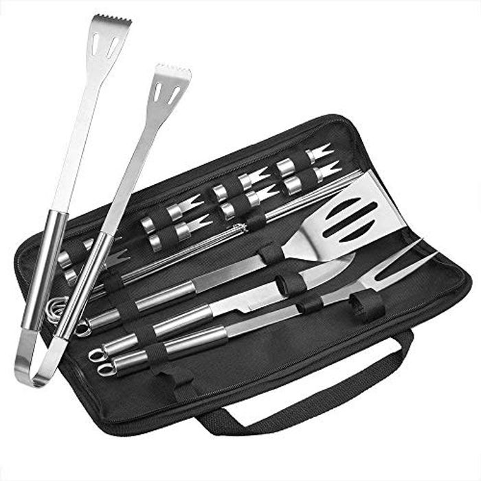 18 Piece Stainless Steel BBQ Tool Set - £7.99 (Use Coupon)