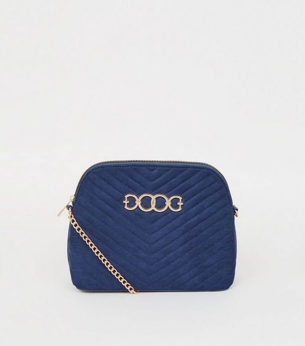 Navy Quilted Suedette Cross Body Bag