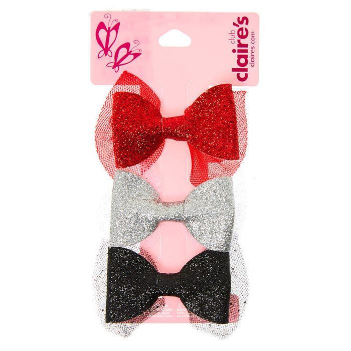 Claire's Club Glitter Hair Bow Clips - 3 Pack