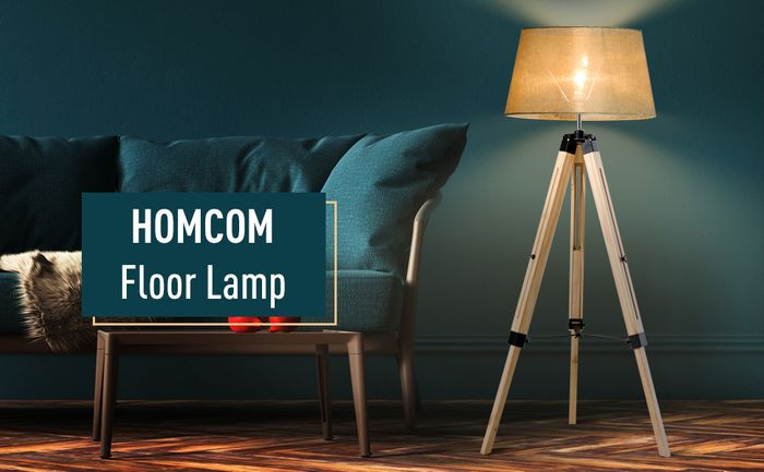 *SAVE £120* HOMCOM Classic Tripod Floor Lamp, Adjustable Height-Grey