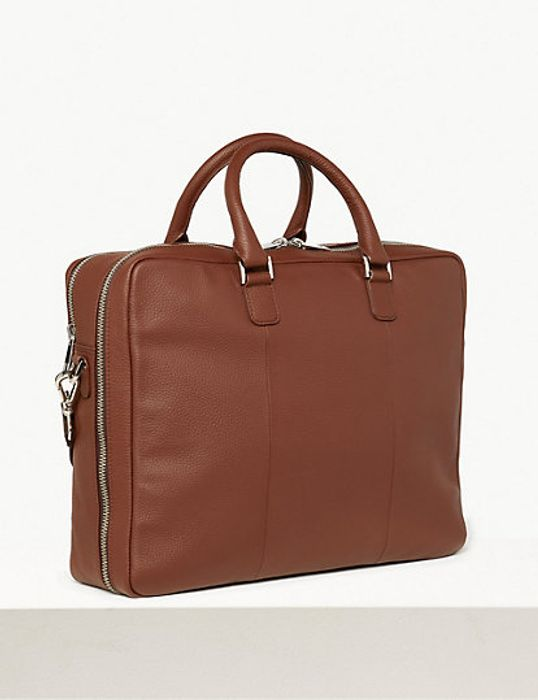 Leather Double Pocket Briefcase
