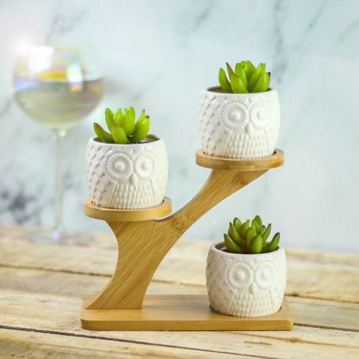Owl Trio Ceramic Planters With Stand Now £7.99