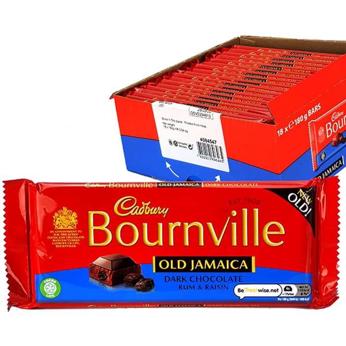 18 X Cadbury Bournville Old Jamaica Dark Chocolate Rum & Raisin 180g Bars