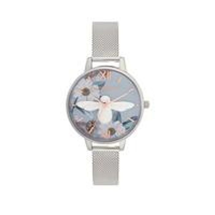 Olivia Burton Bejewelled Floarals 3D Bee Floral Dial Silver Mesh Watch
