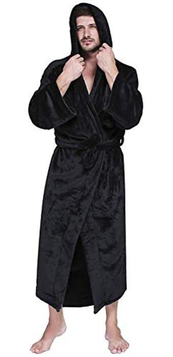 Save 80%- MTOML Mens Fleece Hooded Robe Plush Bathrobe