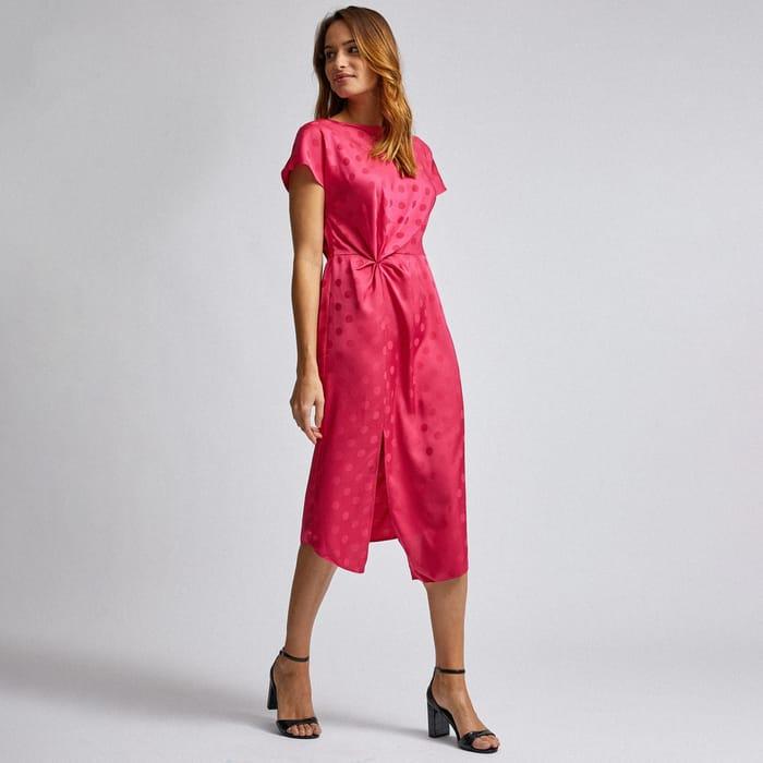 Dorothy Perkins-Pink Spot Print Manipulated Waist Midi Dress