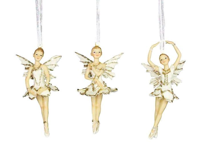 Gisela Graham Resin Gold & Cream Ballerina Fairy Hanging Bauble Decoration (1)