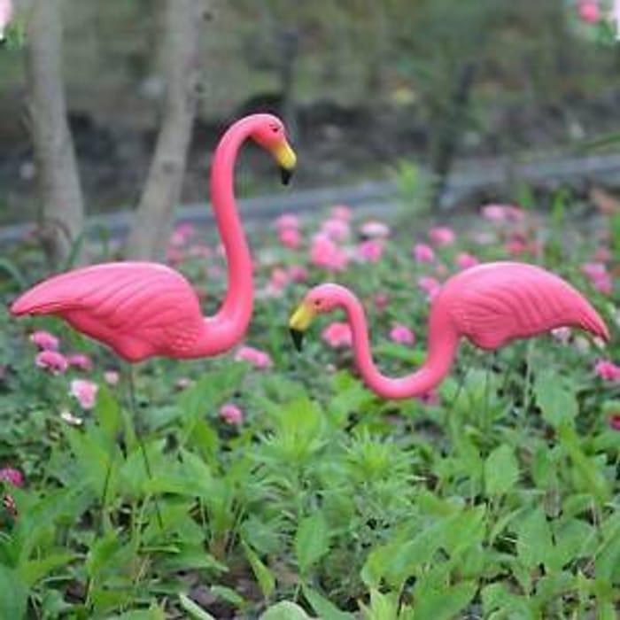 2Pcs Pink Lawn Flamingo