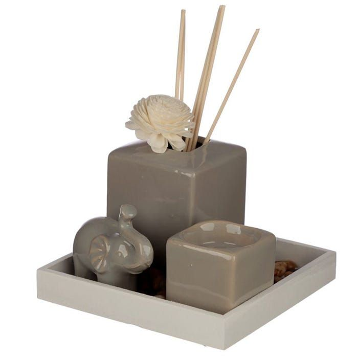Eden Ceramic Grey Reed Diffuser & Candle Holder Set *Comes With Elephant