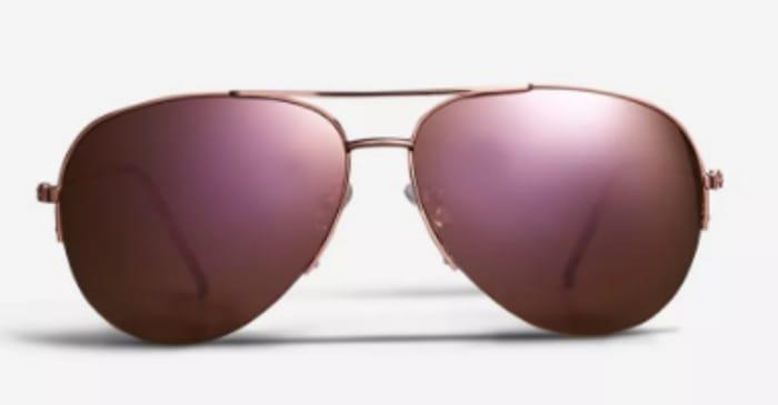 Rose Gold Rimless Aviator Sunglasses