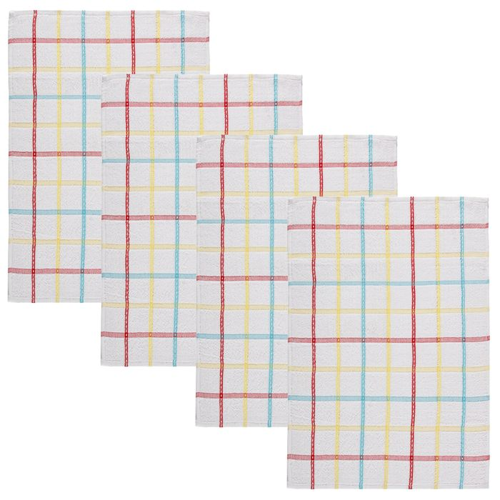 Summer Check Luxury Tea Towels 4pk - Red - Only 50p!