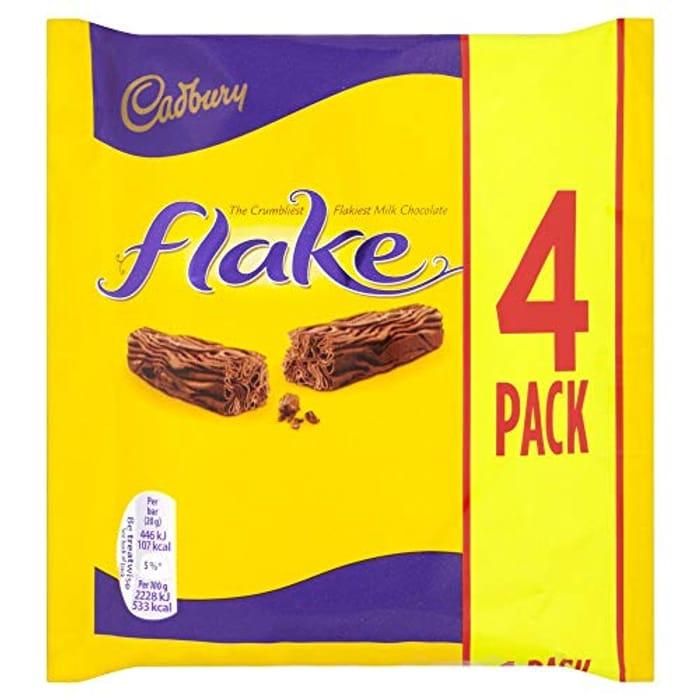 Cadbury Flake Chocolate Bar 4 Pack Multipack 80g