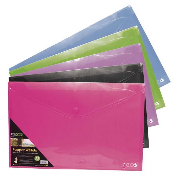 Seco Biodegradable Popper Wallets A4, Assorted