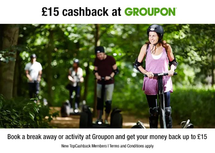 £15 Cashback At Groupon For New TopCashBack Members