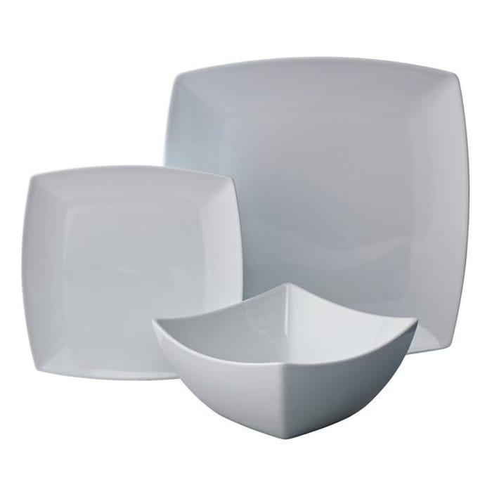 Argos Home Soft Square Porcelain 12 Piece Dinner Set - White824/0604