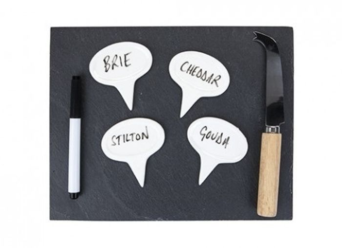 Slate Board W/4pc Cheese Marker Set W/pen&knife