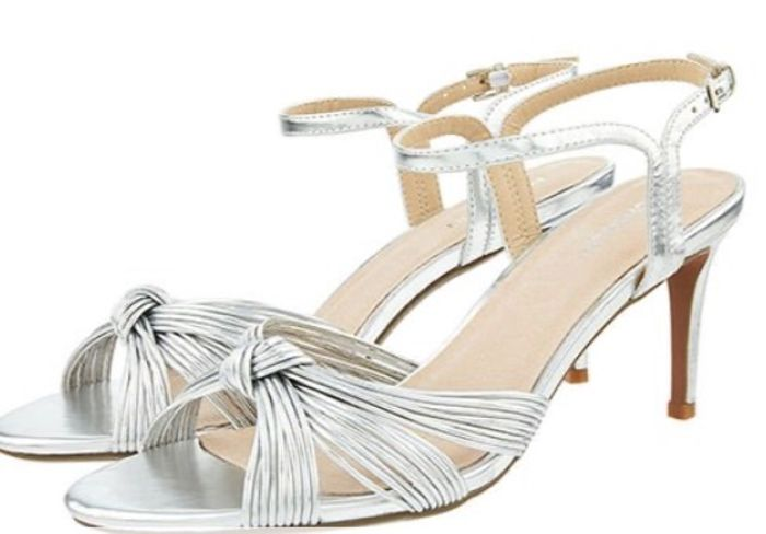 Kitty Knot Heeled Sandals silver