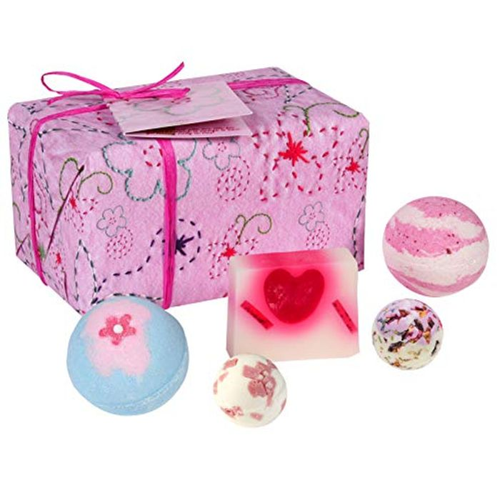 Pretty in Pink Handmade Wrapped Bath and Body Gift Pack, Contains 5-Pieces