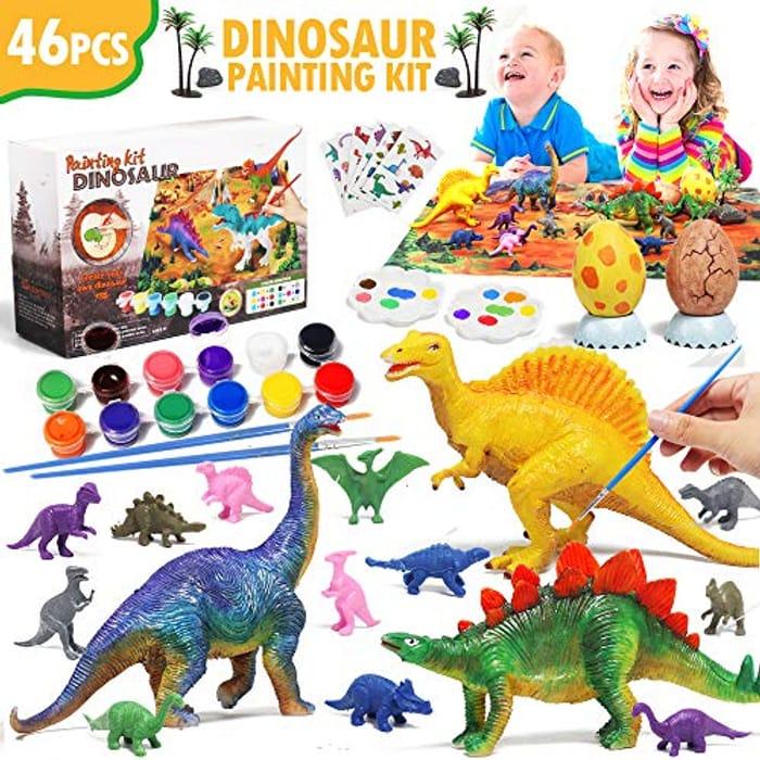 44 Pcs DIY Dinosaur Figurines Craft Kit with Play Mat