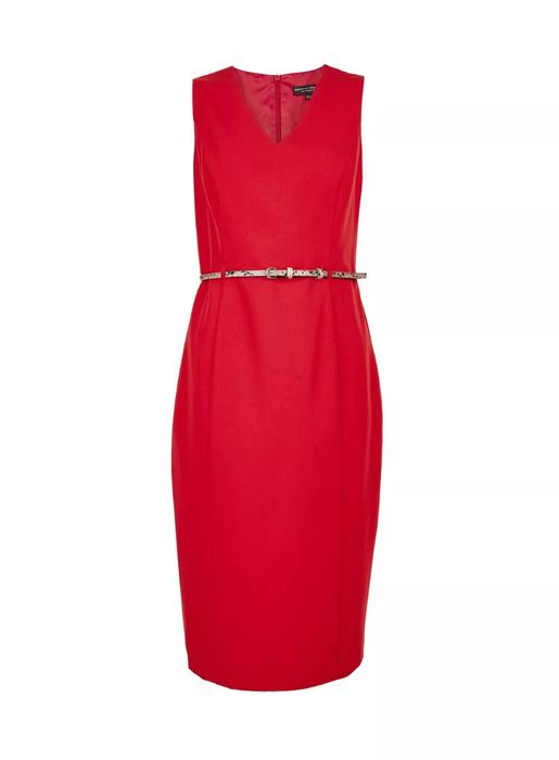 Red Snake Print Belted Dress
