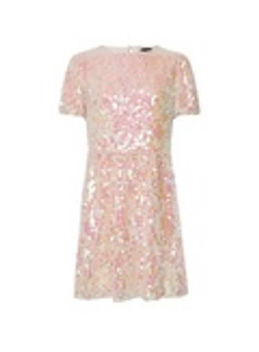 Pink Premium Sequin Smock Mini Dress