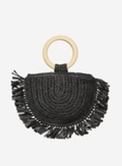 Southbeach Black Straw Beach Bag