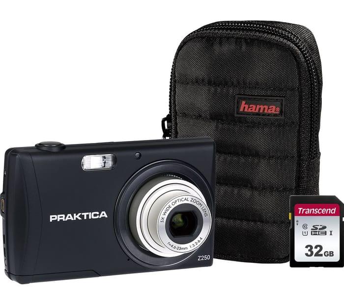 PRAKTICA Luxmedia Compact Camera, Case & 32 GB Memory Card Bundle