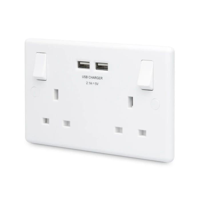 British General 2.1 Amp White Double USB Socket